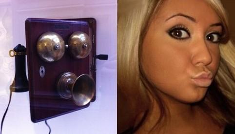 Zwei Fotos nebeneinander: Das eine zeigt ein altes Telefon, das andere ein junges Mädchen mit einem Duckface-Gesichtsausdruck. Die beiden sehen sich sehr ähnlich.