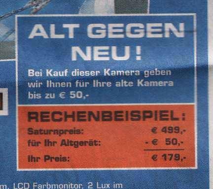 Eine Werbeanzeige, die 50 Euro Rabatt für Altgeräte bei Fotokameras verspricht. Dazu eine Beispielrechnung, die aber komplett falsch ist.