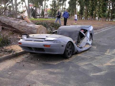 Ein Sportwagen wurde von einem Baum getroffen und zerstört.