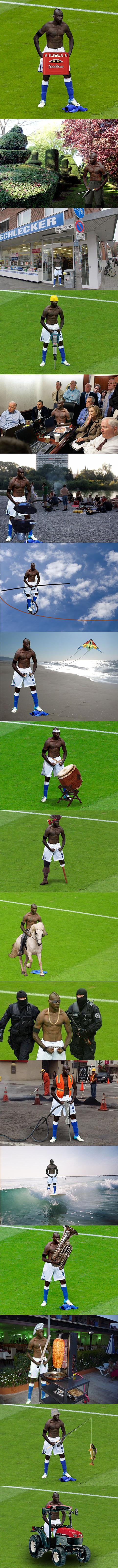 Eine Meme-Sammlung zur Bodybuilder-Pose von Mario Balotelli im Spiel Deutschland - Italien bei der EM 2012.