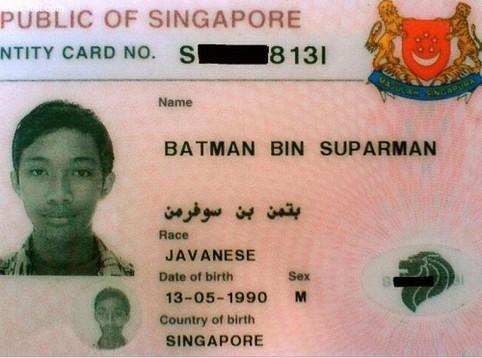 """Ein indonesischer Ausweis, dessen Inhaber tatsächlich """"Batman bin Suparman"""" heißt."""