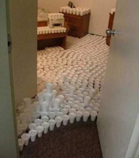 Ein Zimmer ist vollgestellt mit gefüllten Bechern. Ein lustiger Streich.