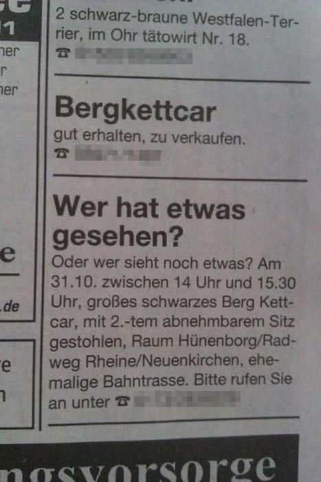Ausschnitt aus den Kleinanzeigen einer Zeitung. In einer Anzeige sucht jemand Zeugen für den Diebstahl eines Bergkettcars. In der Anzeige direkt darüber wird ein gebrauchtes Bergkettcar zum Verkauf angeboten.