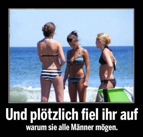 """Drei junge Frauen im Bikini stehen am Meer. Eine schaut auf ihre Brüste. Darunter steht der Text: """"Und plötzlich fiel ihr auf, warum sie alle Männer mögen."""""""