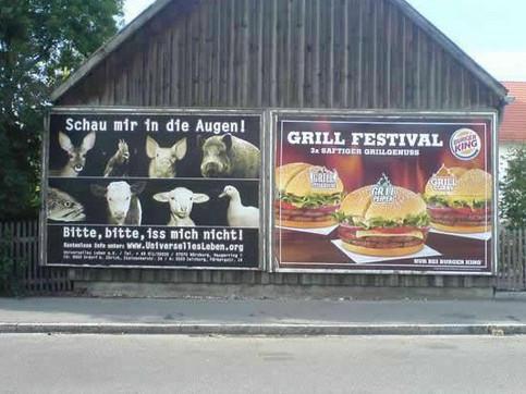 """Zwei Plakatwerbungen nebeneinander: """"Bitte, bitte iss mich nicht"""" für vegetarische Ernährung und Werbung für Burger King, saftiger Grillgenuss."""