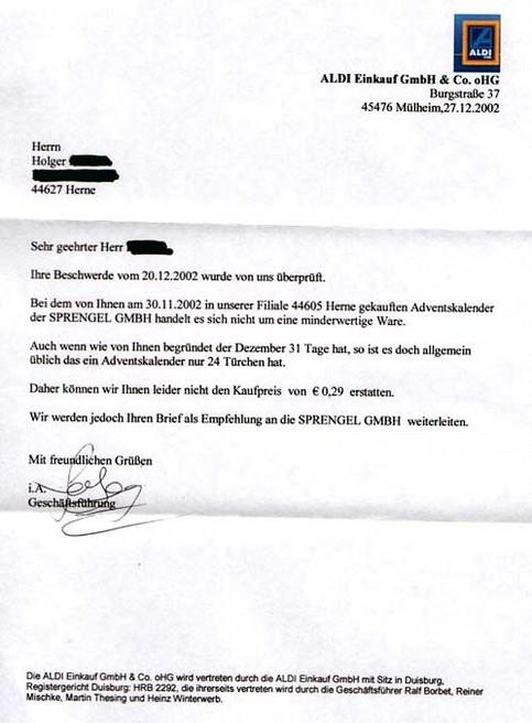 Eine Antwort von ALDI auf einen Beschwerdebrief, dass ein gekaufter Adventskalender nur 24 statt 31 Türchen hat.