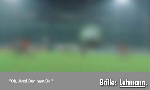 """Parodie einer Fielmann-Werbung: """"Ok, Jens, den hast Du! Brille: Lehmann"""""""