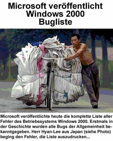Ein Chinese schiebt ein Fahrrad, vollgepackt mit Zetteln.
