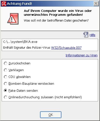 Eine Virenwarnung, die vor dem Bundestrojaner warnt.