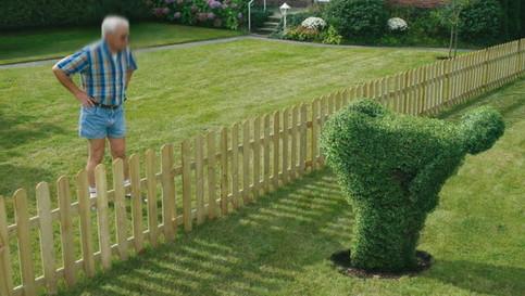 Ein Strauch ist so geschnitten, dass er seinem Nachbarn den Hintern zeigt.