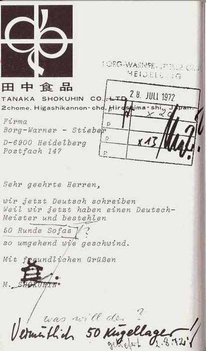 """Eine Bestellung aus Chine, die """"50 runde Sofas"""" bestellt, womit Kugellager gemeint sind."""