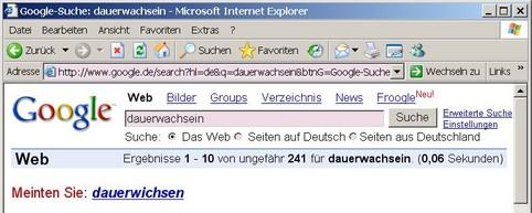 """Die Google-Suche schlägt statt """"dauerwachsein"""" """"dauerwichsen"""" vor..."""
