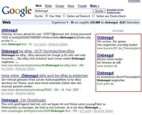 """Bei einer Google-Suche nach """"Diebesgut"""" wird Adsense-Werbung für Diebesgut bei Amazon eingeblendet."""