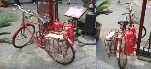 Ein Feuerwehr-Fahrrad in China.