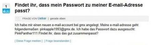 Ein User fragt, ob seine E-Mail-Adresse und sein Passwort gut zusammen passen.