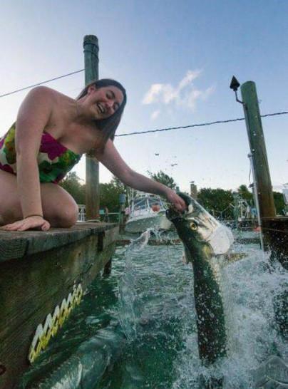 Eine Frau kniet über dem Meer auf einem Steg. In dem Moment springt ein großer Fisch aus dem Wsser und beisst in ihre Hand.