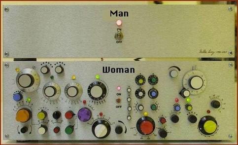 """Das Bild zeigt eine Maschine mit zwei Teilen. Der obere steht für einen Mann und hat nur einen Ein-/Aus-Schalter. Der untere Teil hat viele Regler und Schalter, sieht viel komplizierter aus und ist mit """"Woman - Frau"""" beschriftet."""