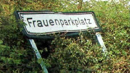 """Ein Schild """"Frauenparkplatz"""" liegt umgefahren im Gebüsch."""