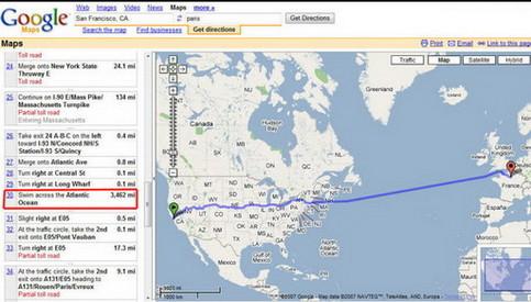 """Eine Karte von Google Maps, die Route zwischen Europa und den USA beschreibt mir """"schwimmen sie durchs Meer""""."""