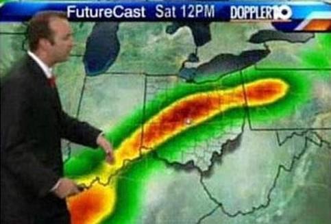 In der Wettervorhersage im Fernsehen sieht ein Hochdruckgebiet aus wie ein Glied.
