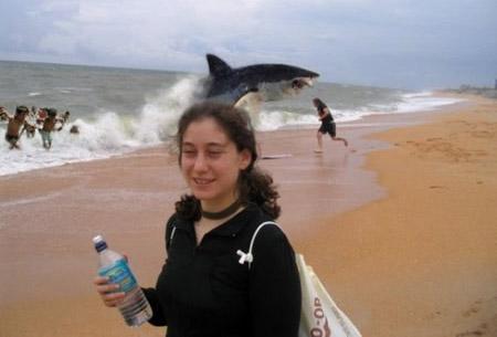 Ein Mädchen wird am Strand fotografiert. Im Hintergrund setzt ein Hai zum Sprung an den Strand an.