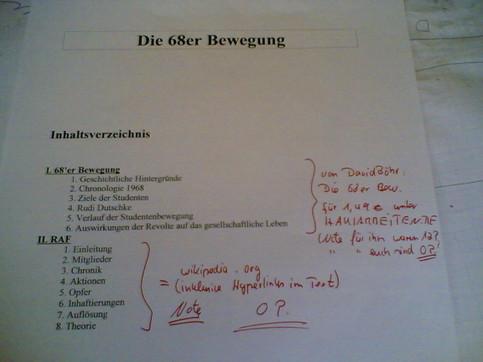 Ein Aufsatz, der aus dem Internet (Wikipedia) geklaut ist und vom Lehrer mit 0 Punkten bewertet wurde.