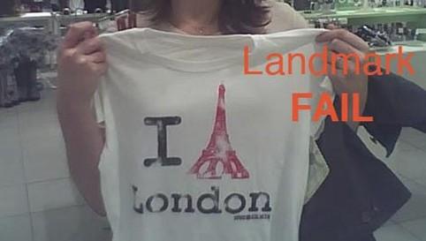 """Auf einem T-Shirt ist der Eiffelturm aus Paris abgebildet, darunter steht: """"I love London""""."""