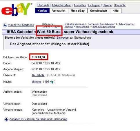 Ein IKEA-Gutschein über 50 Euro, der bei eBay für 64 Euro verkauft wurde.
