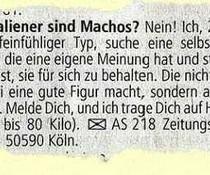 Macho-Anzeige
