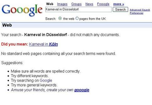 """Eine Google-Suche nach """"Karneval in Düsseldorf"""" ergibt keinen Treffer und schlägt die Suche nach """"Karneval in Köln"""" vor."""