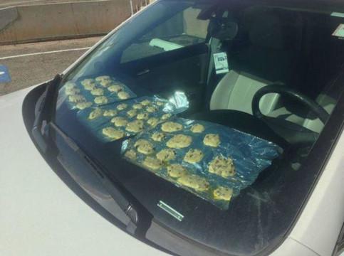 In einem Auto ist es scheinbar so heiß, dass man auf dem Armaturenbrett Kekse backen kann. Dort liegen auf Alufolie leckere Plätzchen.