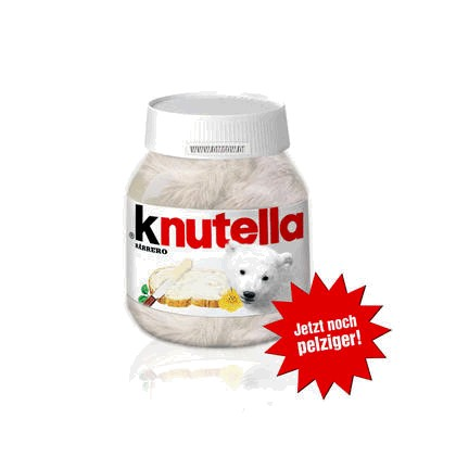 """Ein Nutella-Glas, das mit dem Eisbären Knut gefüllt und mit """"knutella"""" beschriftet ist."""