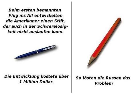 Die Lösungen der Amerikaner und Russen, damit Kulis im Weltall nicht auslaufen. Die Amis entwickeln einen teuren Kuli, die Russen verwenden einen Bleistift.