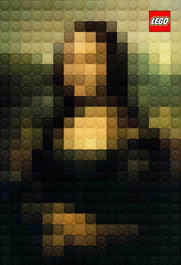 Die Mona Lisa wurde in eine Lego-Pixelgrafik umgewandelt.