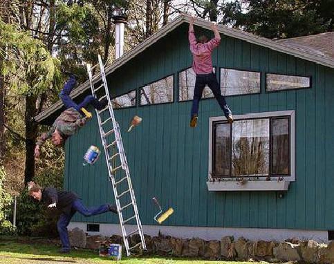 Unfall auf einer Leiter.