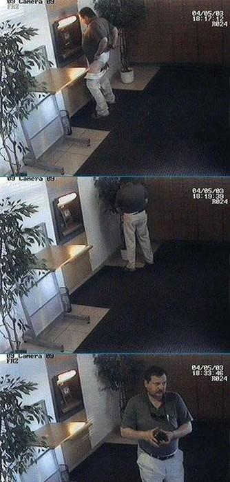Ein Mann wird von einer Überwachungskamera gefilmt, wie er in einer Bank in einen Blumeneimer pinkelt.