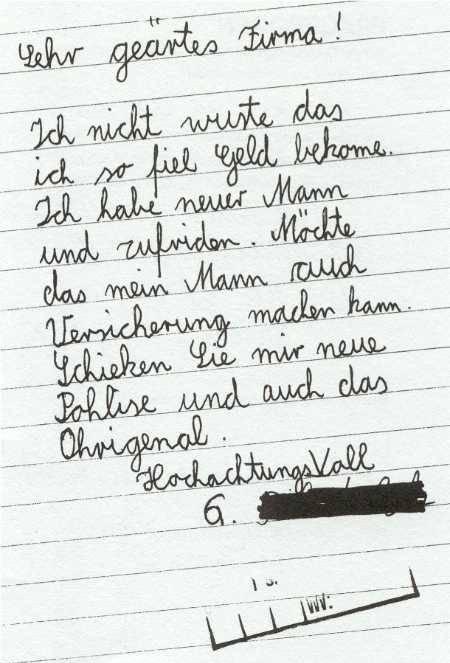 """Ein Brief an eine Versicherung in schlechtem Deutsch, in dem um eine neue """"Pohlise"""" gebeten wird."""