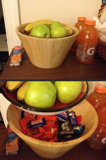Süßigkeiten wurden unter einer Obstschale versteckt.