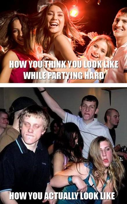 Zwei Bilder. Das eine zeigt, wie man sich anfüllt, während man Party macht. Das andere stellt dar, wie man wirklich aussieht.