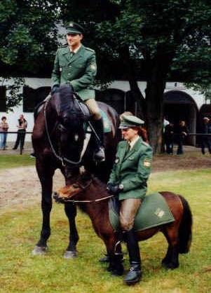 Eine Polizistin sitzt auf einem Pony, das kleiner ist als sie.