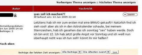 Der Bravo-Astrokalender sagt, dass eine 12jährige am Sonntag Sex haben wird. Was soll sie nun machen?