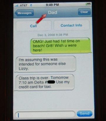 """Screenshot eines Iphones, eine Schülerin schreibt aus Versehem ihrem Vater von der Klassenfahrt eine SMS: """"OMG! Just had 1st time on beach! Gr8! Wish u were here!"""""""