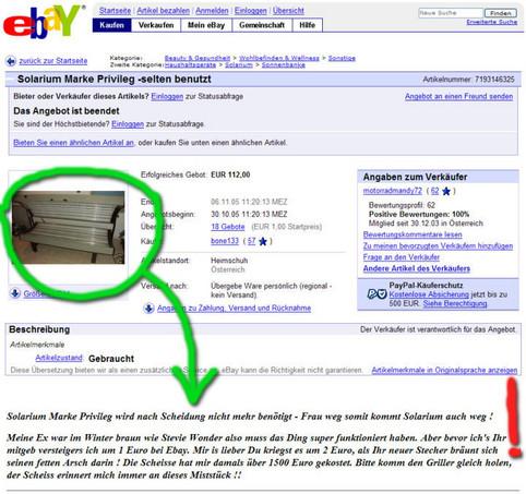 In einer eBay-Aktion bietet ein Mann das Solarium von seiner Ex-Frau an. Die Auktionsbeschreibung ist extrem witzig.