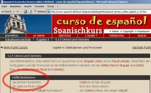 """Ein Screenshot eines Anbieters für Spanischkurse. Unter """"Höflichkeitsform"""" steht """"Sie sind ein Hurensohn"""""""