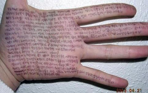 Eine Hand ist als Spickzettel voll geschrieben.