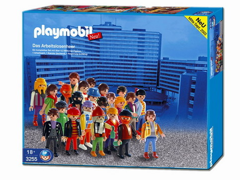 """Eine Packung mit Spielzeug für Kinder enthält """"Das Arbeitslosenheer""""."""
