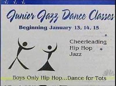 """Das Werbeschild für """"Junior Jazz Dance Classes"""" zeigt zwei symbolisierte Tänzer. In diesem Bild kann man jedoch auch einen nackten Frauenkörper erkennen, es ist eine Art optische Täuschung."""