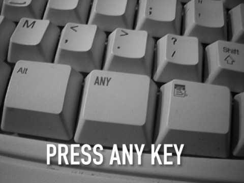 """Eine Tastatur, auf der der """"Any Key"""" aus der Aufforderung """"Press any Key"""" enthalten ist."""