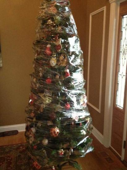 Ein fertig geschmückter Weihnachtsbaum ist mit Kunststoffolie umhüllt und verpackt.