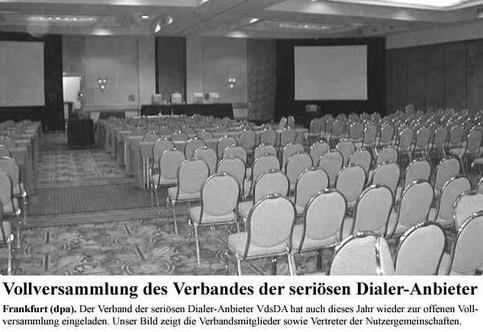 """Ein Zeitungs-Artikel: """"Vollversammlung des Verbandes der seriösen Dialer-Anbieter"""""""